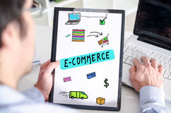 E-commerce concept on a clipboard Stock Images