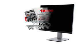 e-commerce concept. computer with a shopping cart moving Stock Photography