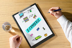 E-commerce concept on a desk. E-commerce concept on a clipboard Royalty Free Stock Image