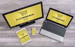 E-commerce concept on different devices Stock Photo