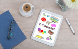 E-commerce concept on a digital tablet Royalty Free Stock Photos