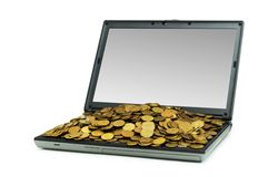E-commerce concept with dollars. And laptop isolated on the white Royalty Free Stock Photography