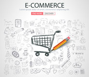 E-commerce Concept with Doodle design style stock illustration