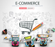 E-commerce Concept with Doodle design style vector illustration