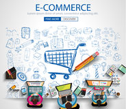 E-commerce Concept with Doodle design style :on line marketing. Social media,creative thinking. Modern style illustration for web banners, brochure and flyers royalty free illustration