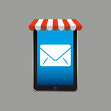 E-commerce concept, hand holding smartphone email envelope icon Stock Photography
