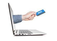 E-commerce concept image. Credit card in a hand . Stock Image