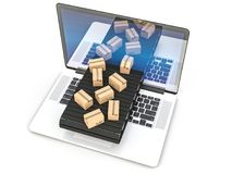 E-commerce concept image. Notebook and conveyor with parcels 3d rendering image Stock Photos