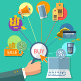 E-commerce concept internet buy sale shopping online store flat Stock Images