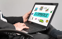 E-commerce concept on a laptop Stock Photography