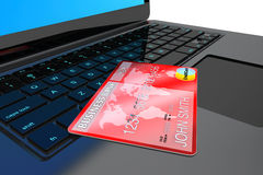 E-commerce Concept. Laptop computer and Credit Card Stock Photo