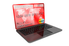 E-commerce Concept. Laptop computer and Credit Card Stock Photos