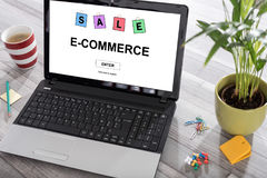 E-commerce concept on a laptop. Laptop on a desk with e-commerce concept on the screen Stock Images