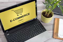 E-commerce concept on a laptop. Laptop screen with e-commerce concept royalty free stock photography