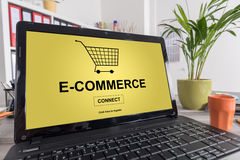 E-commerce concept on a laptop. Laptop screen with e-commerce concept royalty free stock image