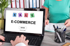 E-commerce concept on a laptop. Laptop screen with e-commerce concept stock images