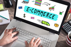 E-commerce concept on a laptop screen Stock Image
