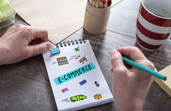 E-commerce concept on a notepad. E-commerce concept drawn on a notepad royalty free stock photography