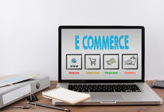 E commerce concept. Office desk with a laptop Stock Image