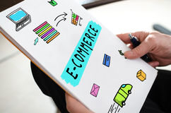 E-commerce concept on a paper Stock Images