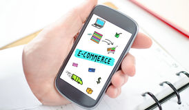 E-commerce concept on a smartphone Stock Photography