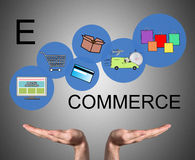 E-commerce concept sustained by open hands Royalty Free Stock Image