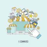 E-commerce concept in thin line style Stock Photo
