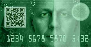 E-commerce concept. Toned green. Conceptual composition depicting online electronic commerce and digital technology. Included are QR code, fingerprint scanner Stock Image