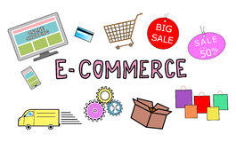 E-commerce concept on white background Stock Image