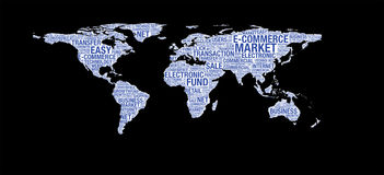 E-commerce concept on world map illustration in word collage Royalty Free Stock Image