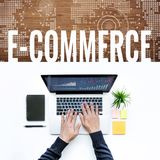 E-commerce concepts idea with male using computer laptop. /top view Royalty Free Stock Photos