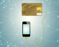 E.commerce. Credit cards connect with mobile phone for e-commerce royalty free illustration