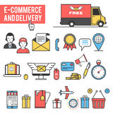 E-commerce, delivery icon set Royalty Free Stock Photos