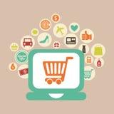 E-commerce. Design over pink background vector illustration stock illustration