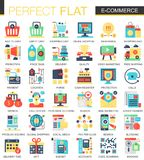 E-commerce and digital development vector complex flat icon concept symbols for web infographic design. E-commerce and digital development vector complex flat Royalty Free Stock Photos