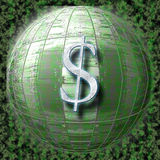 E-commerce dollar. Computerized cyberspace globe spinning in the torrent of electronic information Stock Images