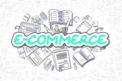 E-Commerce - Doodle Green Inscription. Business Concept. royalty free illustration