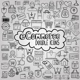 E commerce doodle icons collection Stock Images