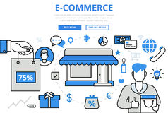 E-commerce electronic sale shop concept flat line art vector Royalty Free Stock Photography