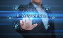 E-Commerce fügen hinzu, um on-line-Einkaufsgeschäftstechnologieinternet-Konzept zu karren Lizenzfreie Stockbilder