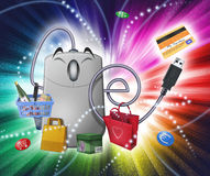 E-commerce fantasy. A cartoon PC mouse is really happy to buy and sell on-line. It's surrounded by several products and bags. Colorful luminescent sparkling