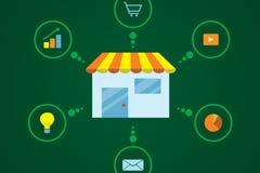 E-commerce Flat Design. Flat design of shop e-commerce around of items Stock Images