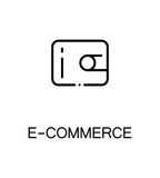 E-commerce flat icon. E-commerce icon. Single high quality outline symbol for web design or mobile app. Thin line sign for design logo. Black outline pictogram Stock Image