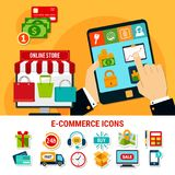 E-commerce Flat Icons Set. E-commerce set of flat icons with online store, money, products, delivery, electronic devices isolated vector illustration Stock Images