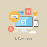 E-commerce flat illustration concept. Flat design vector illustration poster concept with icons of buying product via online shop and e-commerce ideas symbol and vector illustration