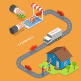 E-commerce flat isometric vector concept. Royalty Free Stock Photo