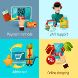 E-commerce Flat Set Stock Image