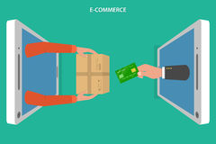 E-commerce flat vector concept. Stock Image