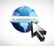 E commerce globe and cursor illustration Stock Images
