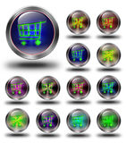 E- commerce glossy icons, crazy colors. E- commerce, glossy icon, button, crazy colors, Glossy metallic buttons Royalty Free Stock Images